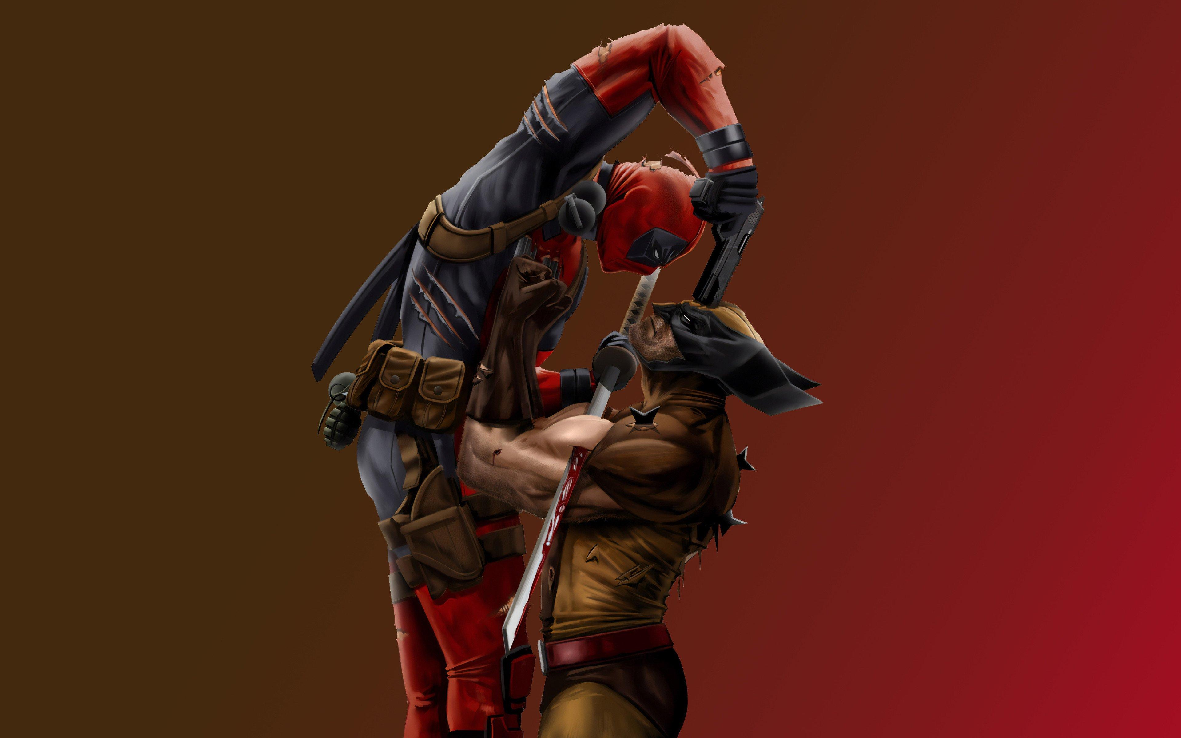 Wallpaper Wolverine vs Deadpool