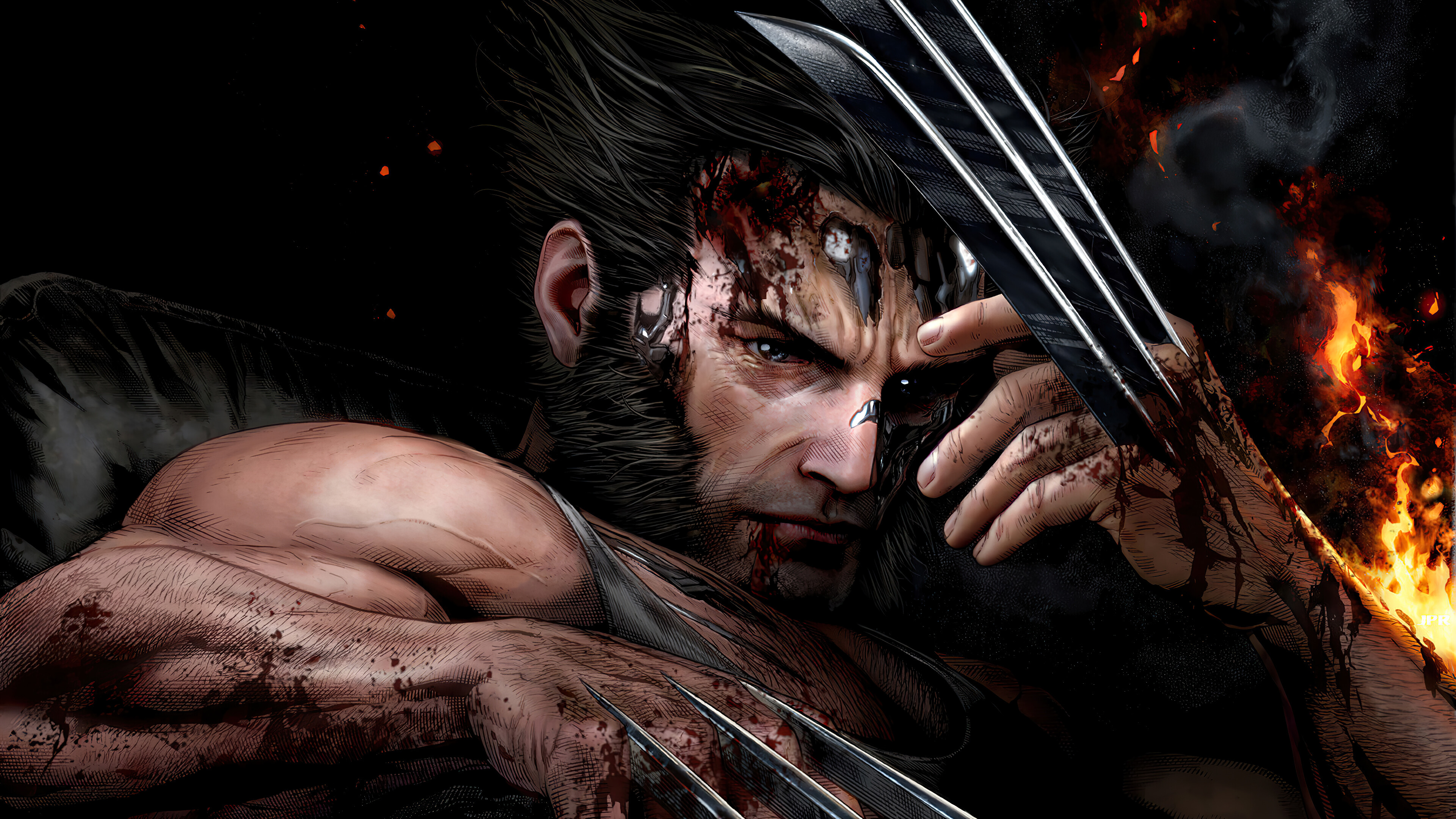 Wallpaper Wolverine Logan wounded
