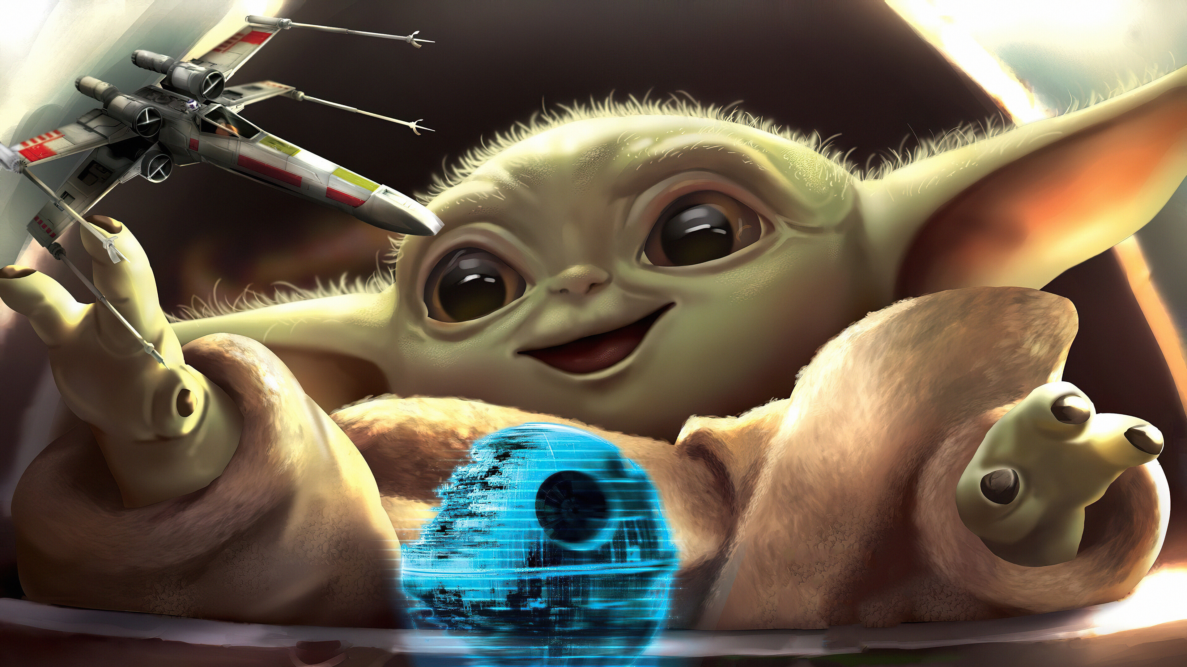 Fondos de pantalla Yoda bebé jugando