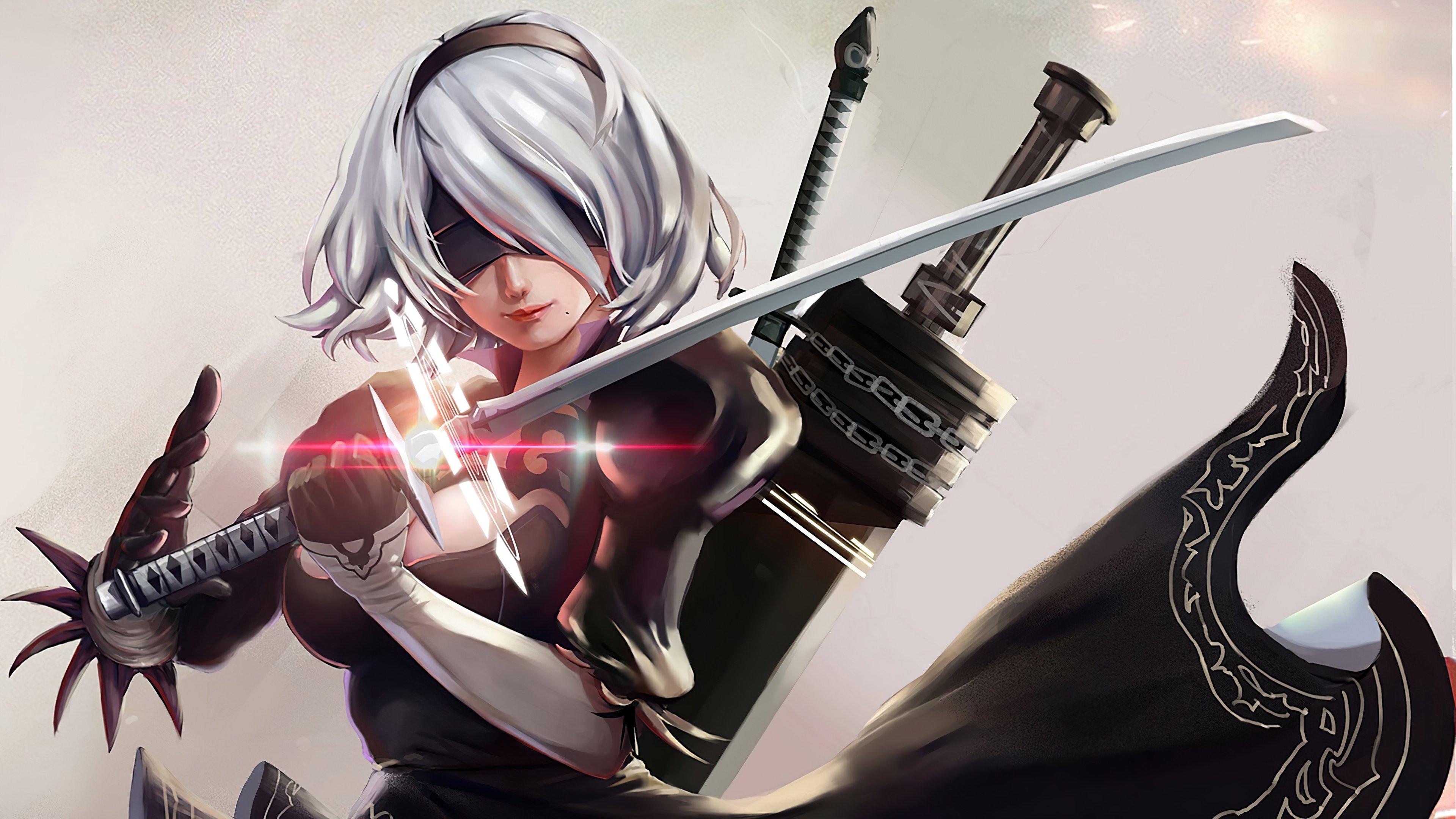 Anime Wallpaper Yorha 2B with Katana sword Nier Automata