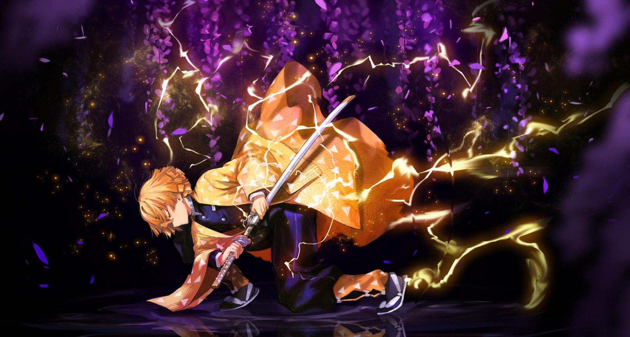 Fondos de pantalla Anime Zenitsu Agatsuma con espada de Guardianes de la Noche