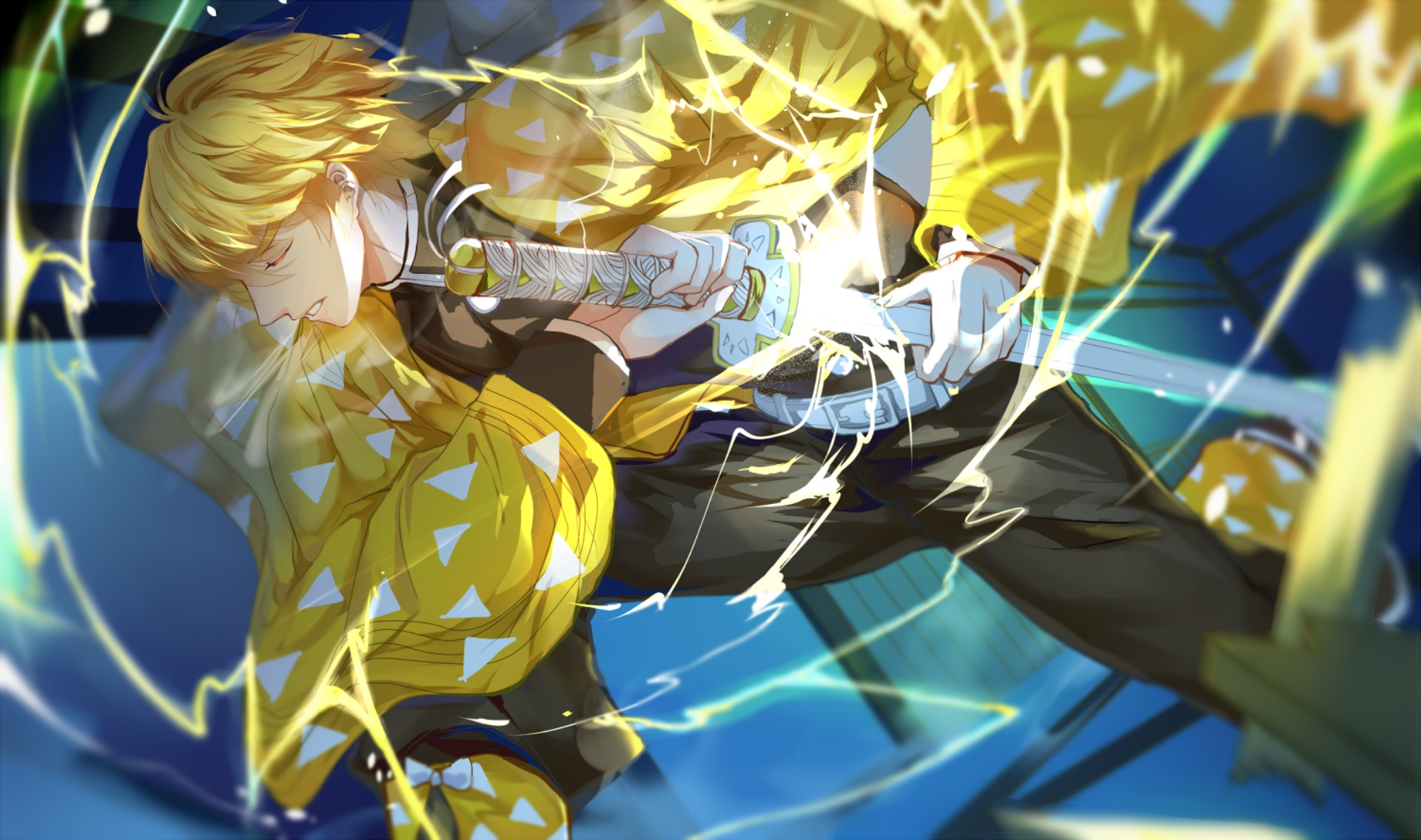 Fondos de pantalla Anime Zenitsu Agatsuma personaje Guardianes de la Noche
